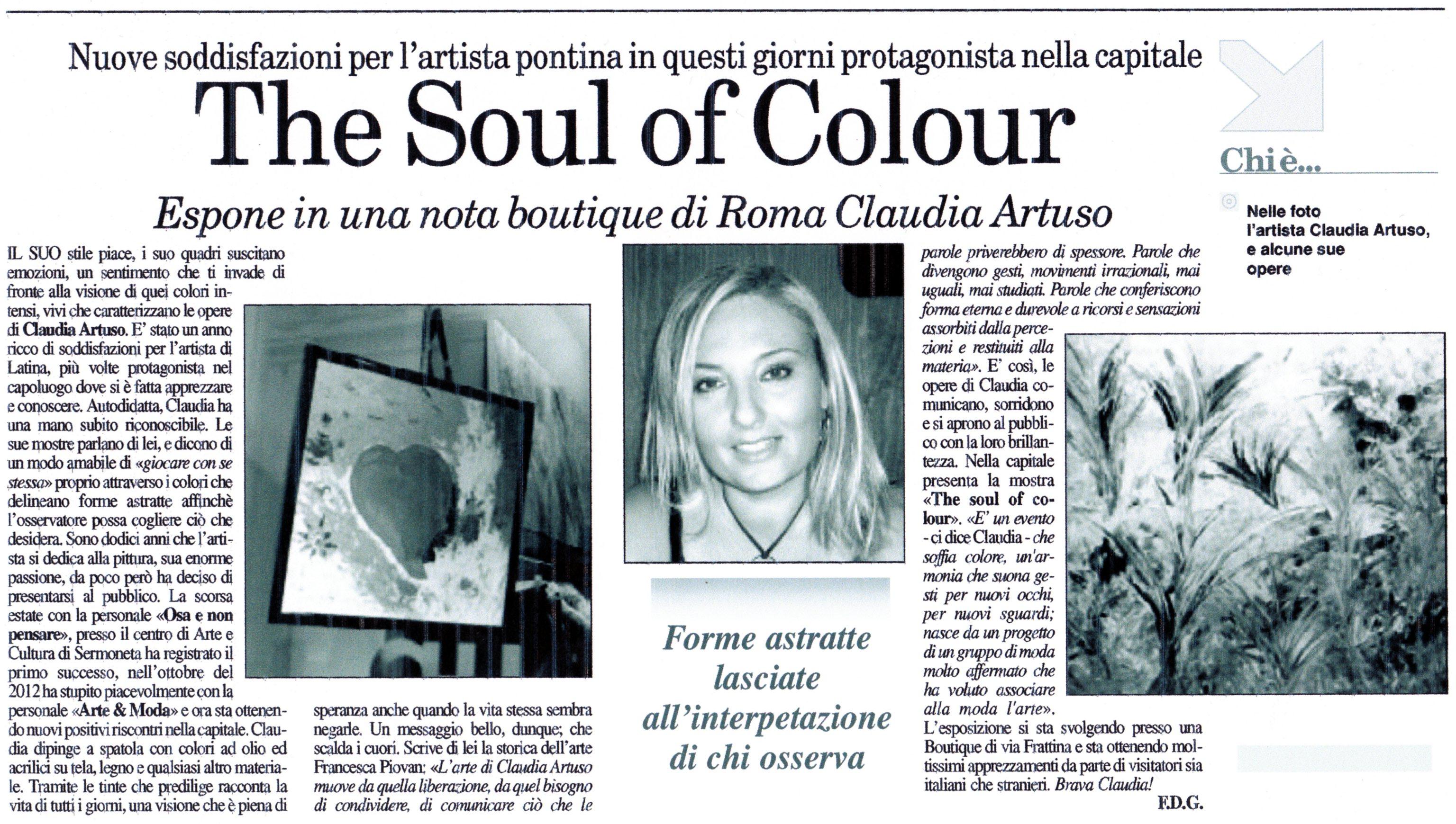 Claudia Artuso - Mostra The Soul of Colour - Elena Mirò